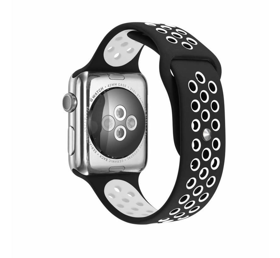 42mm Apple Watch zwart / wit sport bandje