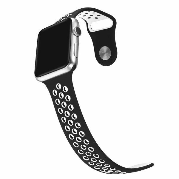 123Watches Apple watch dubbel sport bandje - zwart wit