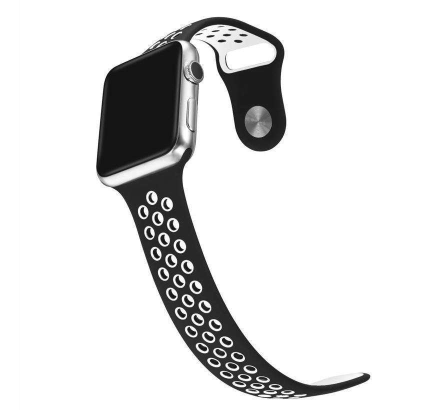 Apple watch dubbel sport bandje - zwart wit