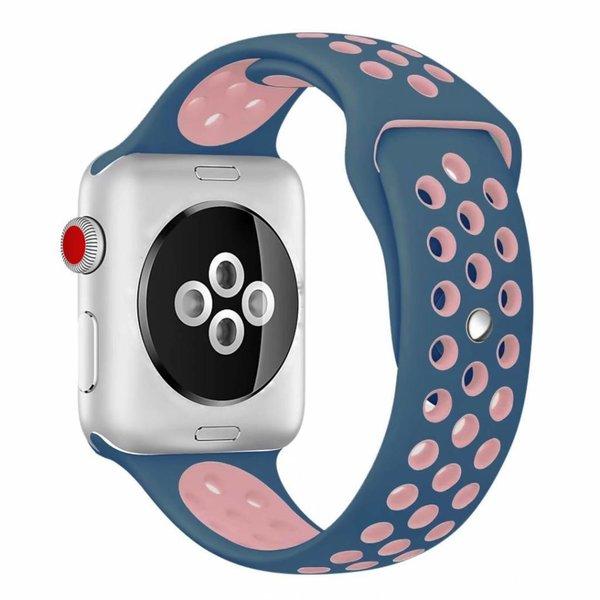 123Watches Apple Watch double sport sangle - bleu rose