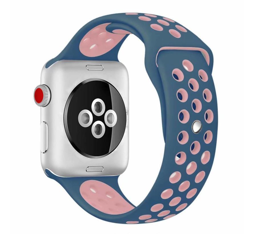 42mm Apple Watch blauw / roze sport bandje