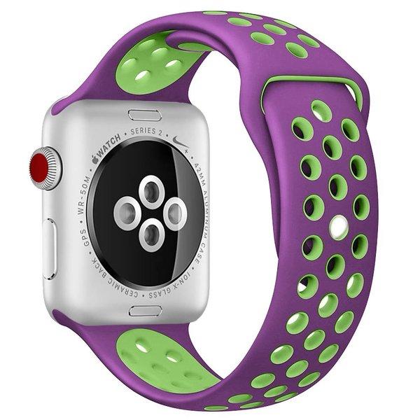 123Watches Apple watch dubbel sport bandje - paars groen