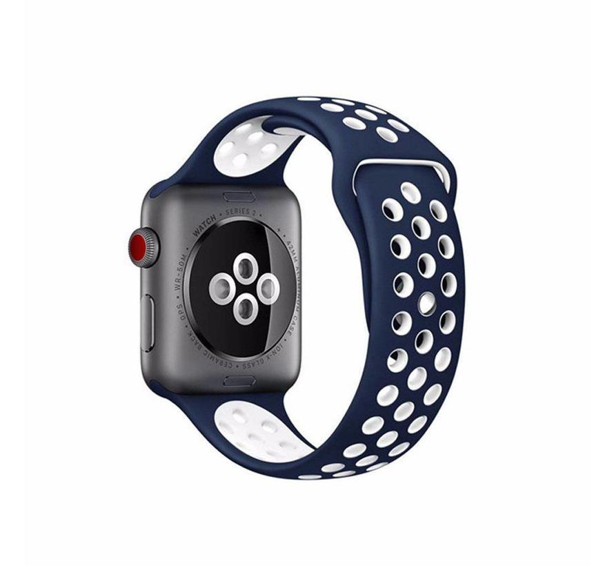 Apple watch dubbel sport bandje - blauw wit