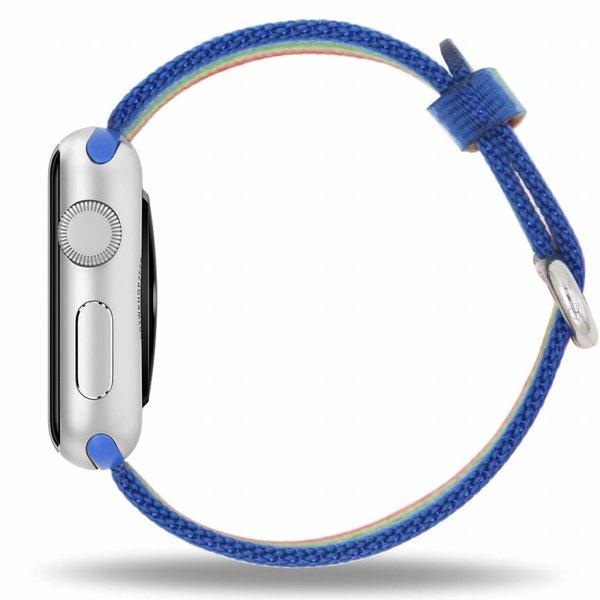 123Watches.nl Apple watch nylon gesp band - regenboog
