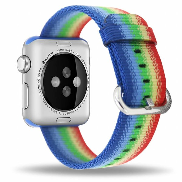 123Watches Apple watch nylon gesp band - regenboog