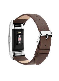 123Watches.nl Fitbit charge 2 basic lederarmband - dunkelbraun