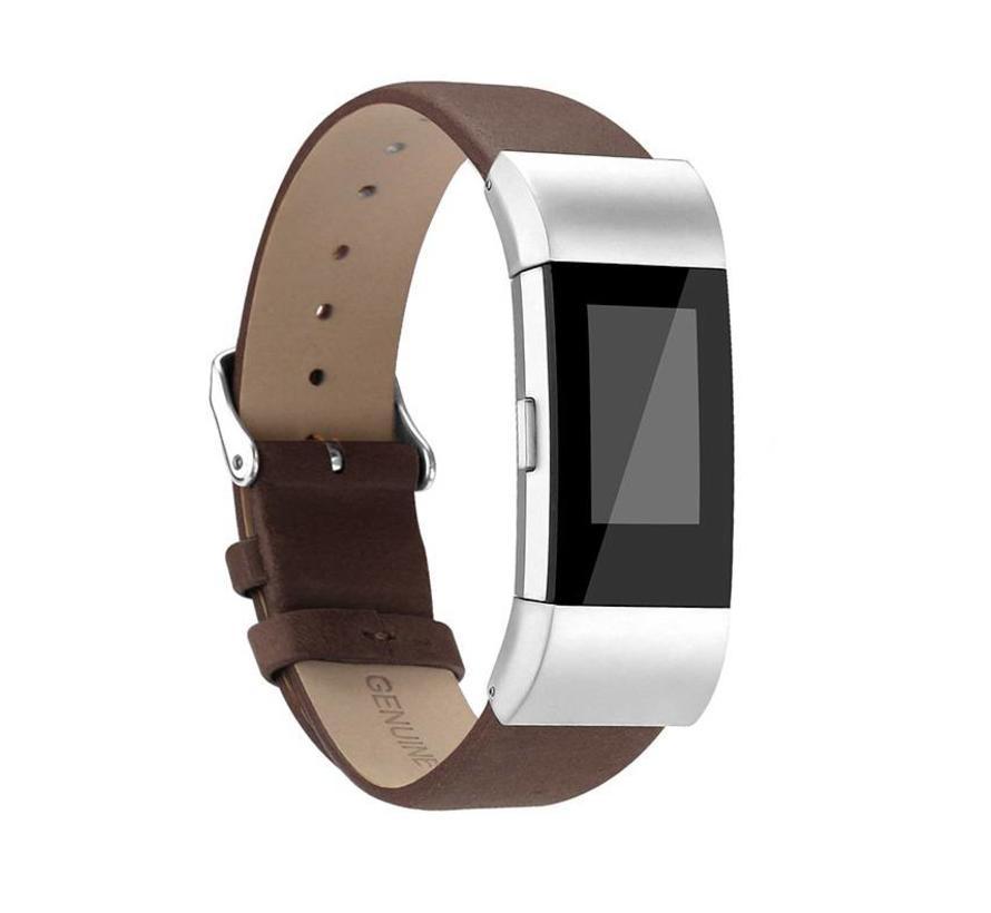 Fitbit charge 2 basic lederarmband - dunkelbraun