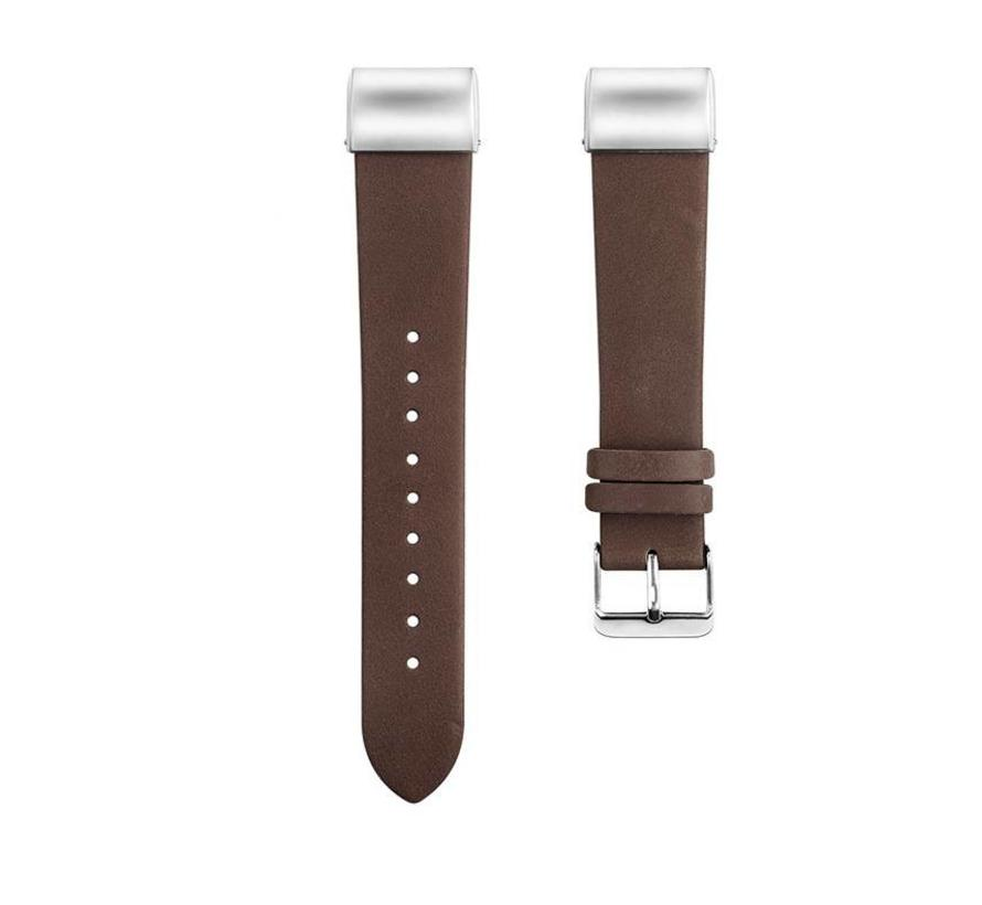 Fitbit charge 2 basic leren band - donkerbruin