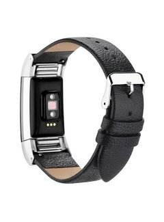 123Watches.nl Fitbit charge 2 basic leather band - black