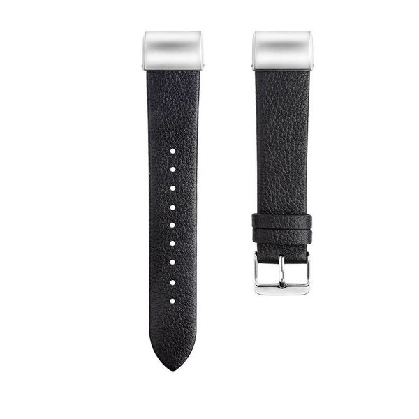 123Watches Fitbit charge 2 basic leren band - zwart