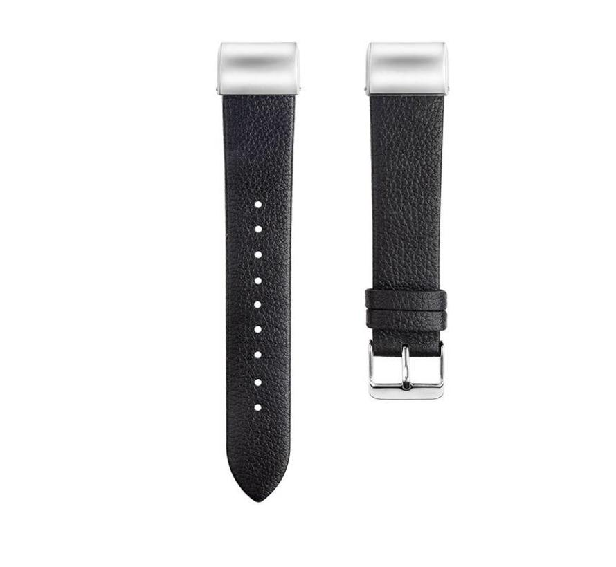 Fitbit charge 2 basic leren band - zwart