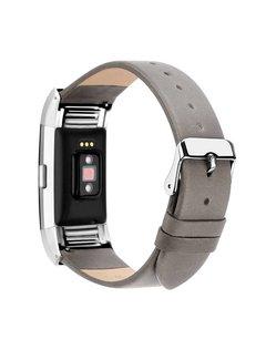 123Watches.nl Fitbit charge 2 basic lederarmband - grau