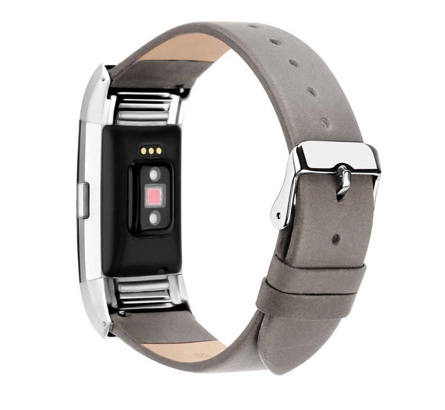 Fitbit charge 2 basic leren band - grijs