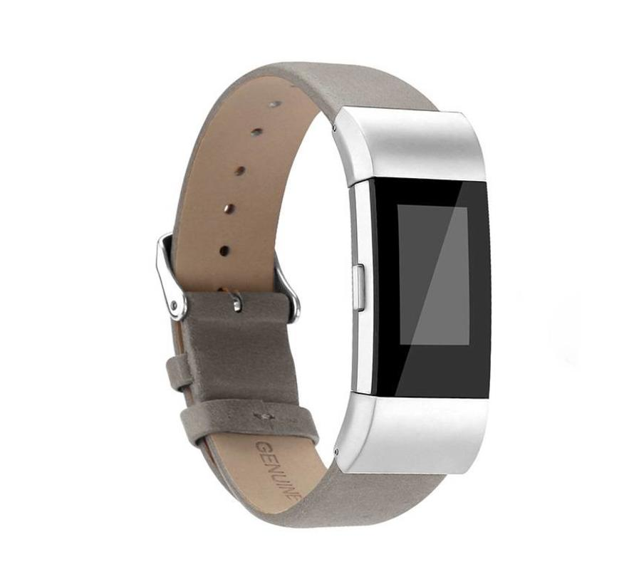 Fitbit charge 2 basic lederarmband - grau