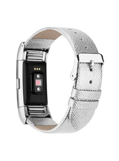 123Watches.nl Fitbit charge 2 basic leren band - zilver