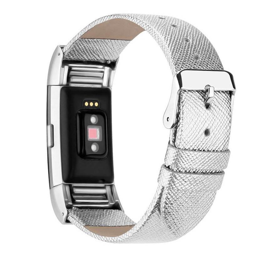 Fitbit Charge 2 zilveren basic leren bandje