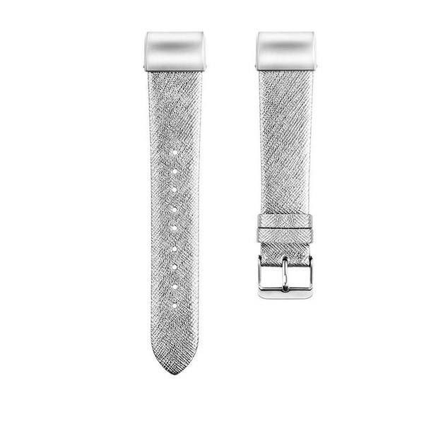 123Watches Fitbit charge 2 basic leren band - zilver