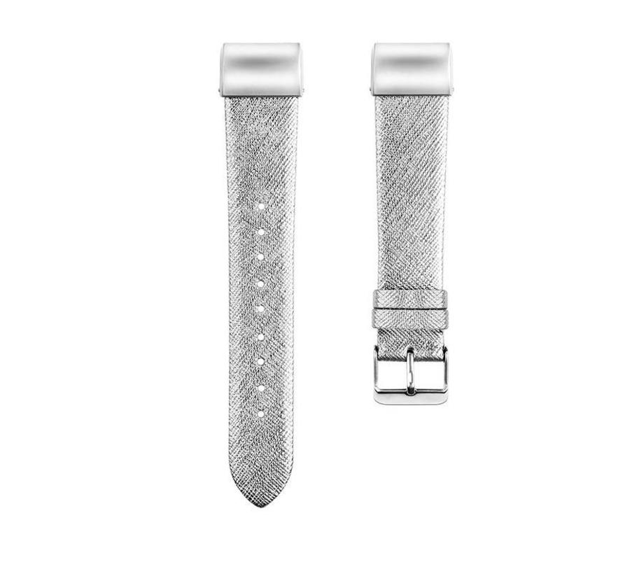 Fitbit charge 2 basic leren band - zilver