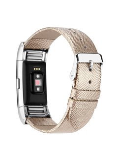 123Watches.nl Fitbit charge 2 basic lederarmband - gold