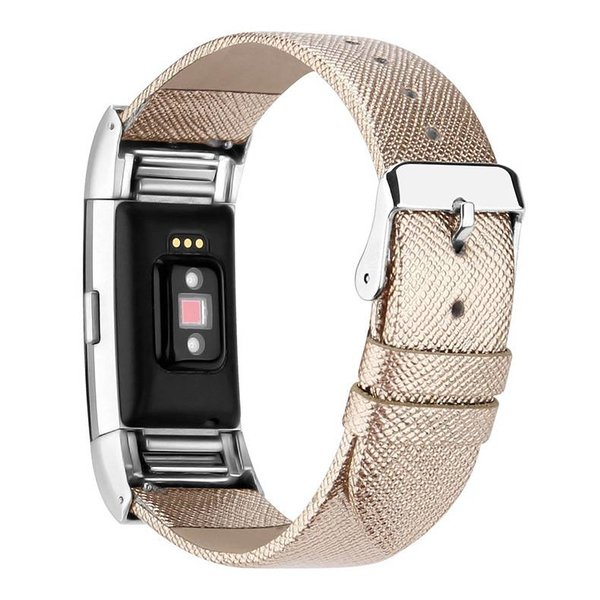 123Watches Fitbit charge 2 basic leren band - goud