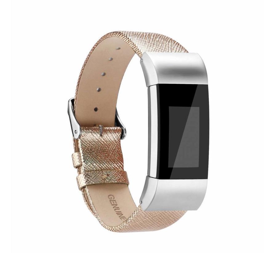 Fitbit charge 2 basic lederarmband - gold