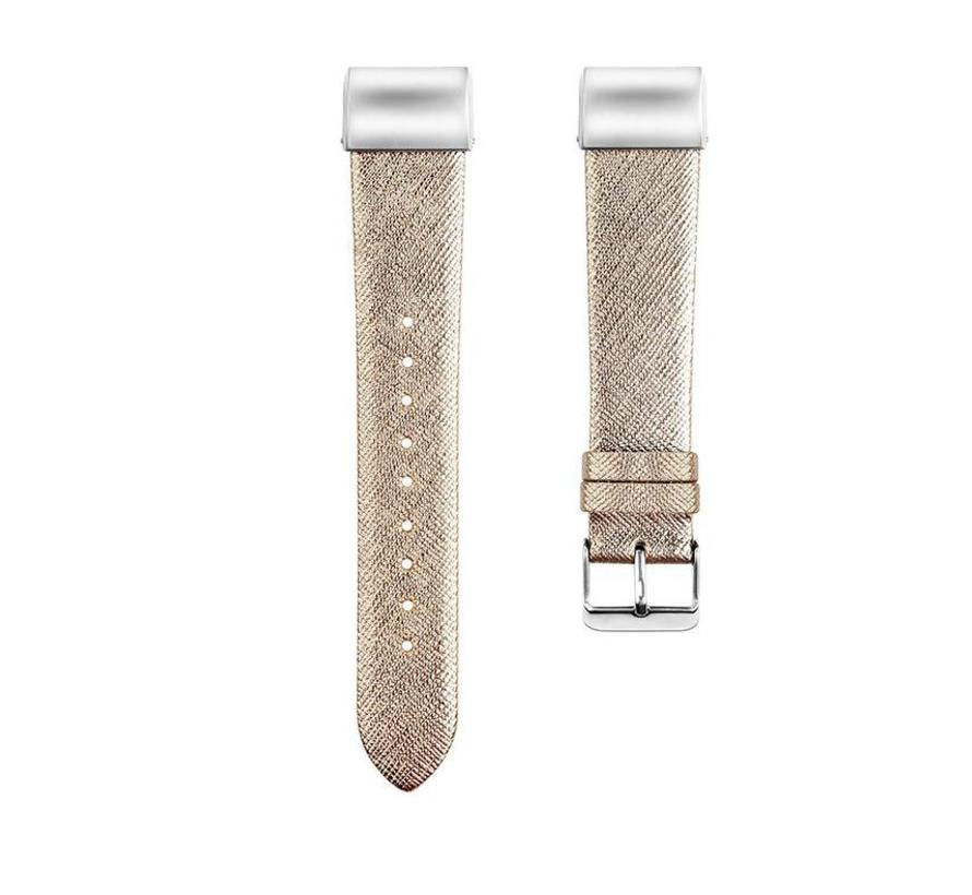Fitbit charge 2 basic leren band - goud