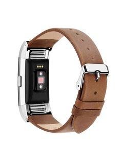 Fitbit Charge 2 licht bruin basic leren bandje