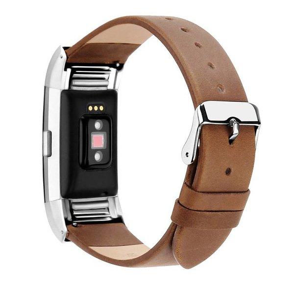 123Watches.nl Fitbit charge 2 bracelet en cuir  - marron clair