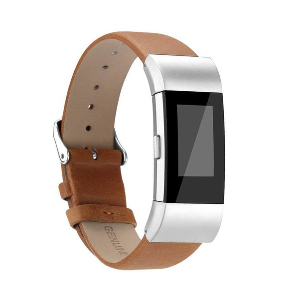 123Watches.nl Fitbit charge 2 basic leather band - light brown