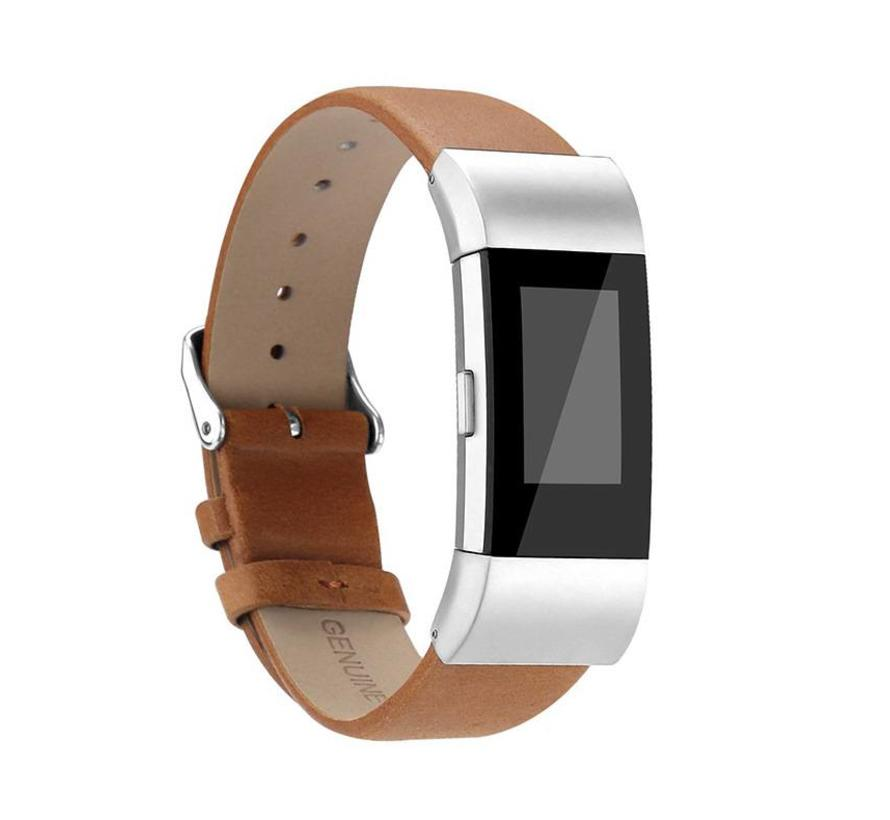 Fitbit charge 2 basic leren band - lichtbruin