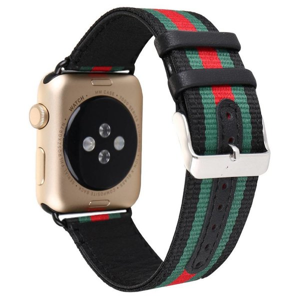123Watches Apple watch nylon double face band - zwart