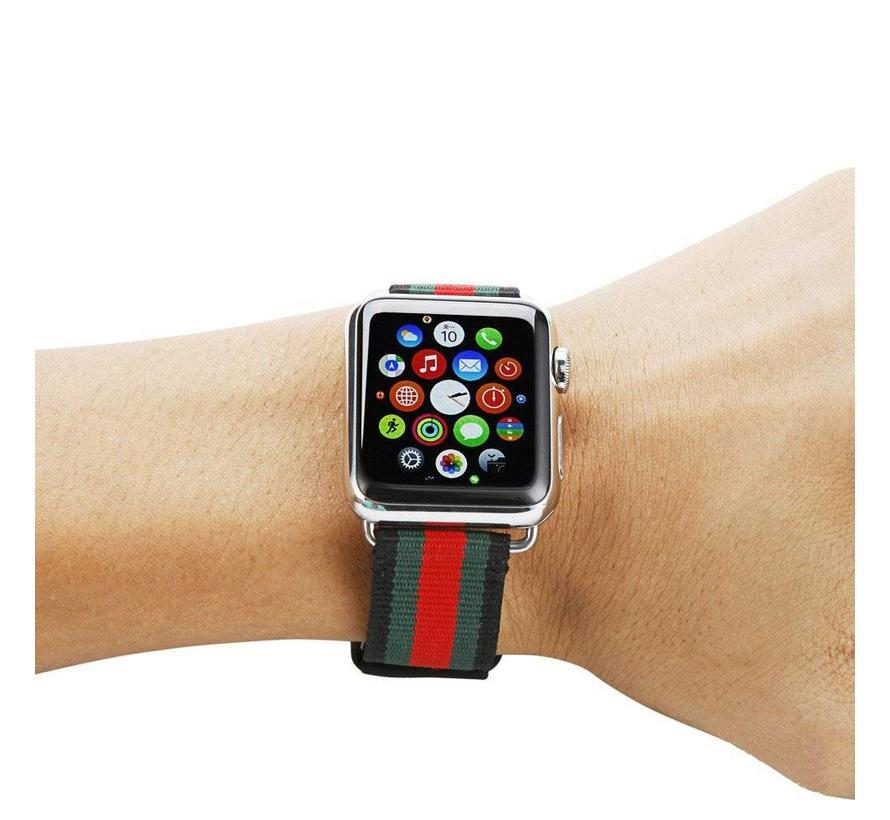 Apple watch nylon double face band - zwart