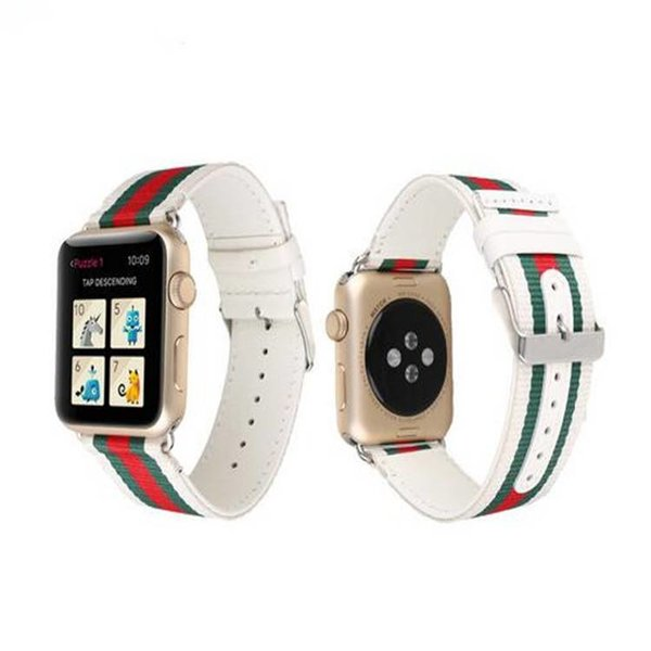 123Watches.nl Apple watch nylon double face band - wit