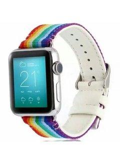 123Watches.nl 42mm Apple Watch rainbow nylon double face bandje