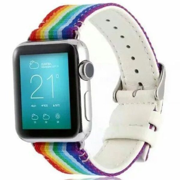 123Watches.nl Apple watch nylon double face band - rainbow
