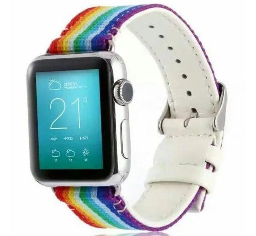 42mm Apple Watch rainbow nylon double face bandje