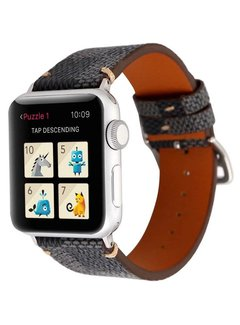 123Watches.nl Apple watch leren grid band - zwart