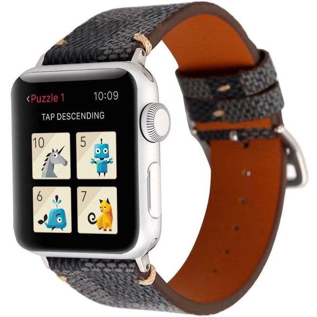 Merk 123watches Apple watch leren grid band - zwart