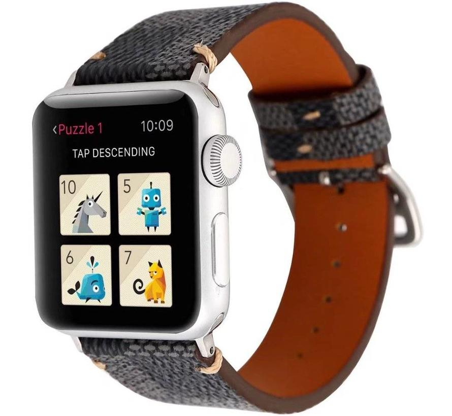 Apple watch leren grid band - zwart