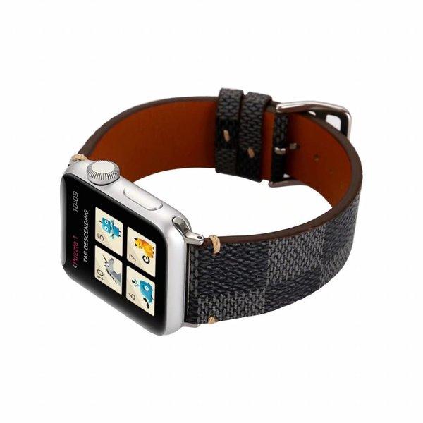 123Watches Apple watch leren grid band - zwart