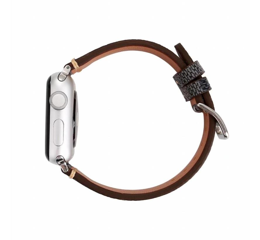 Apple watch leather grid band - black