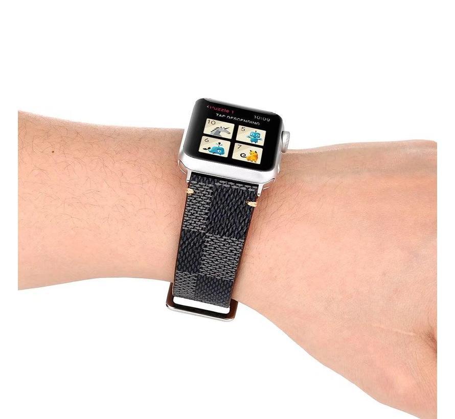 Apple watch leren grid band - zwart