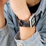 123Watches.nl Apple watch leren grid band - zwart