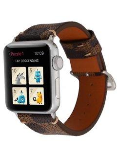 123Watches.nl 42mm Apple Watch bruin leren grid bandje