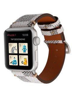 123Watches.nl Apple watch leather grid band - white