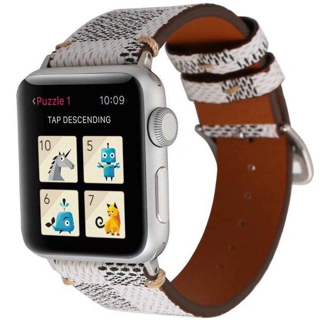 Merk 123watches Apple watch leren grid band - wit