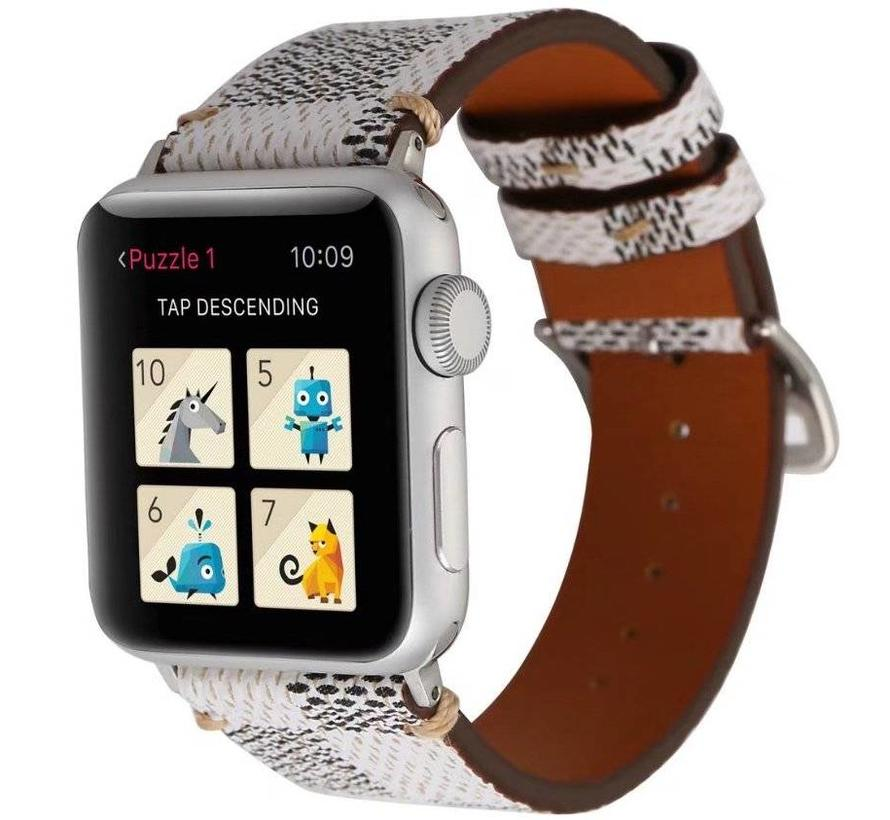 Apple watch leather grid band - white