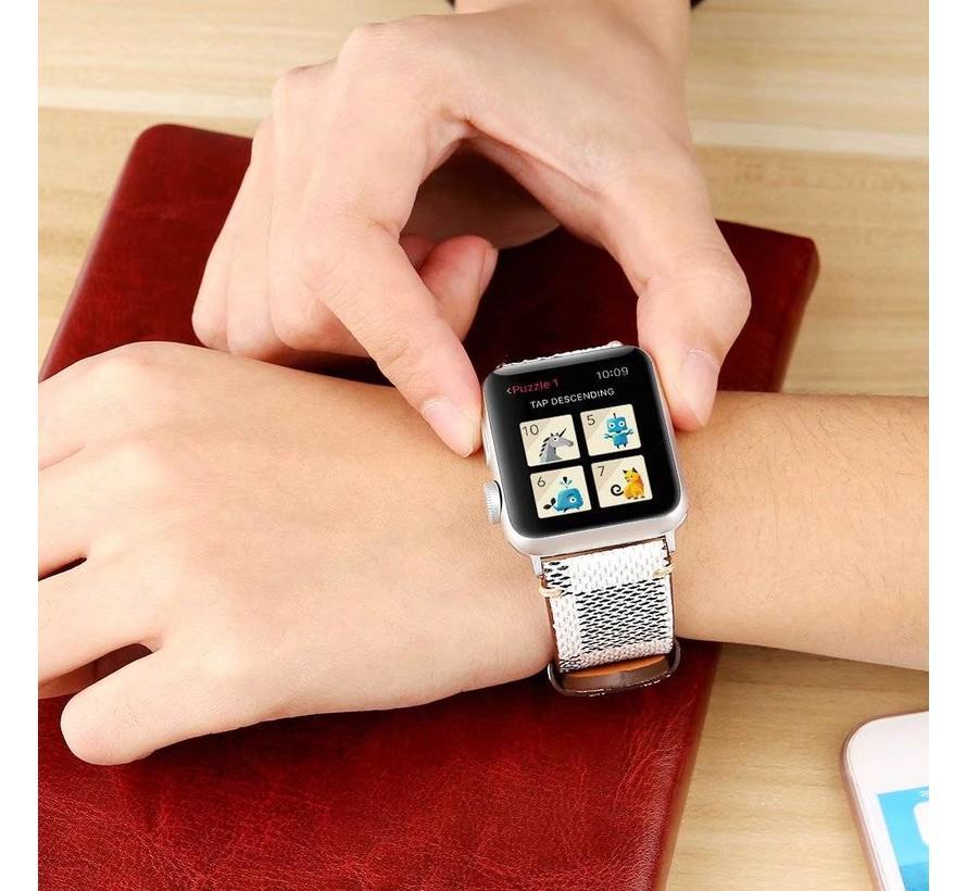 Apple watch leren grid band - wit