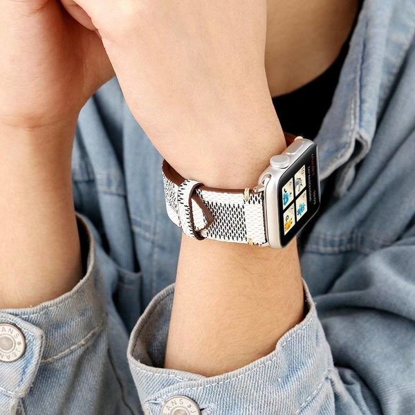 123Watches.nl Apple watch leren grid band - wit