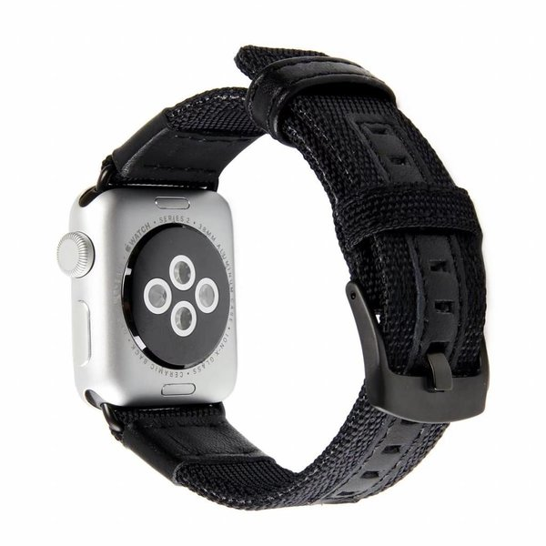 123Watches.nl Apple watch nylon Militär- band - schwarz